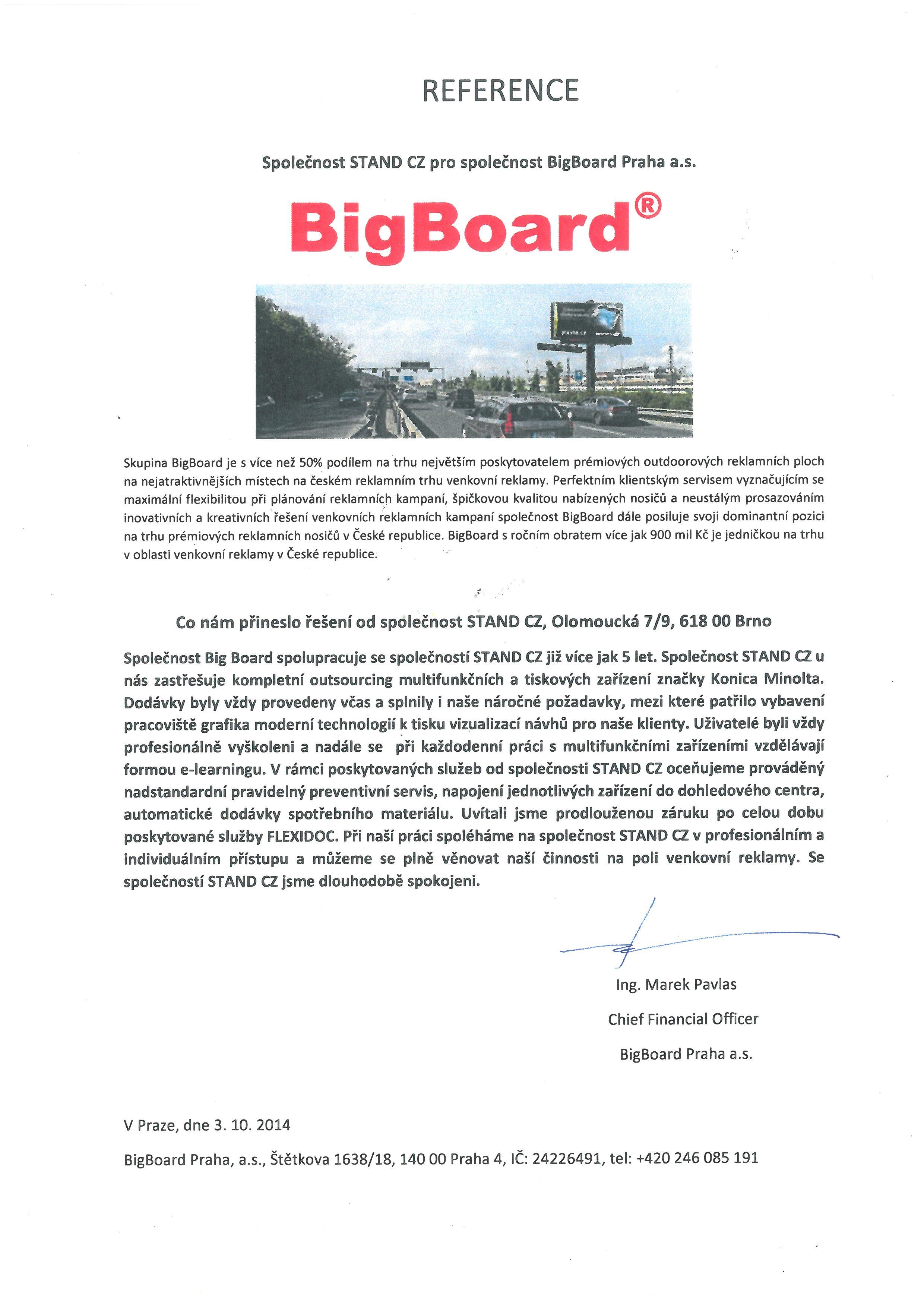Big Board - referenční dopis