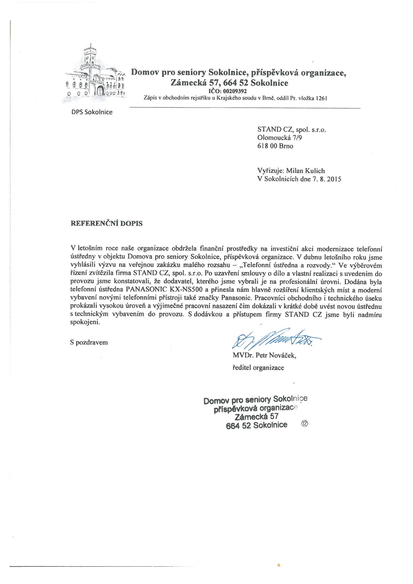 Domov pro seniory Sokolnice - referenční dopis