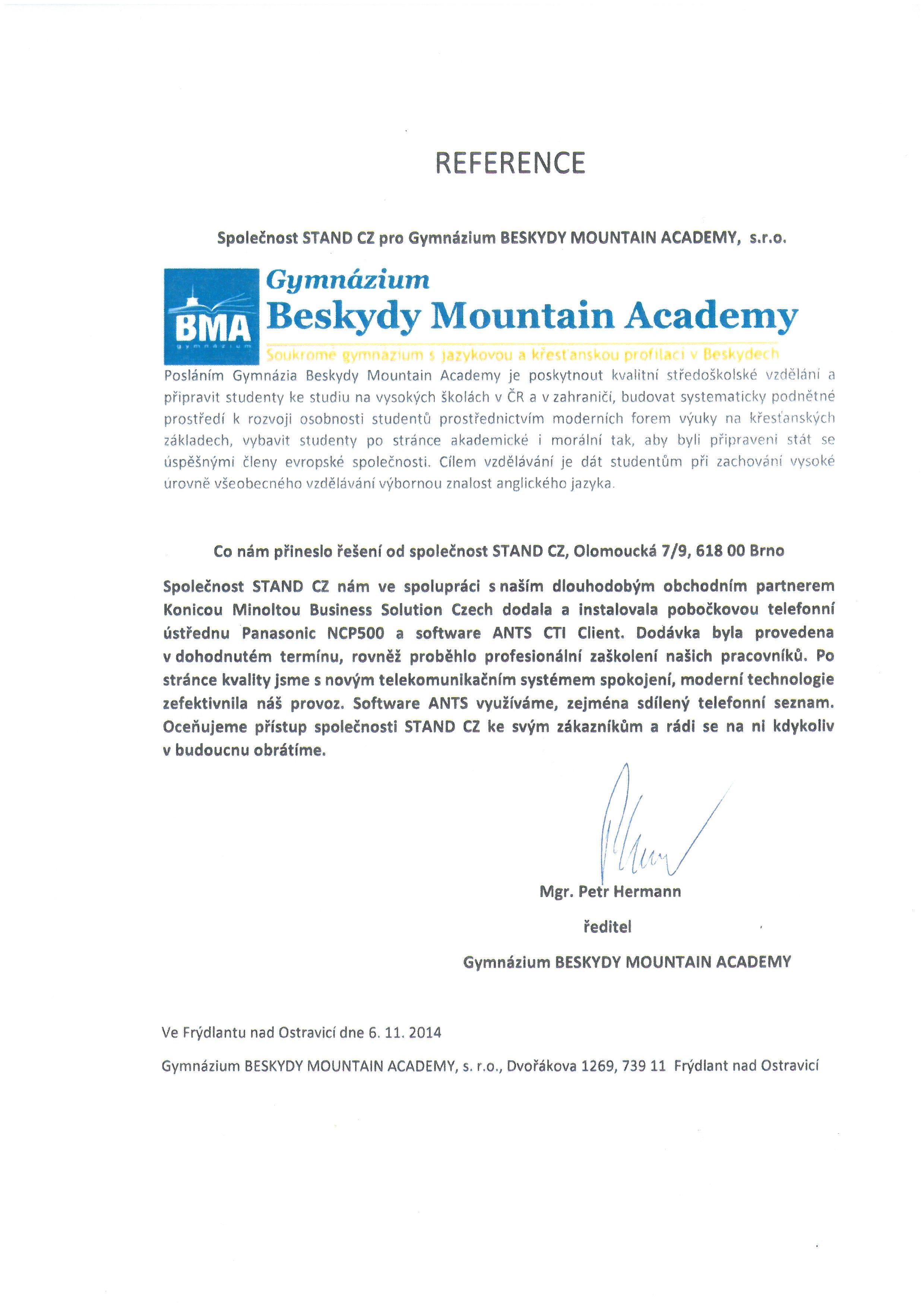 Gymnázium Beskydy Mountain Academy