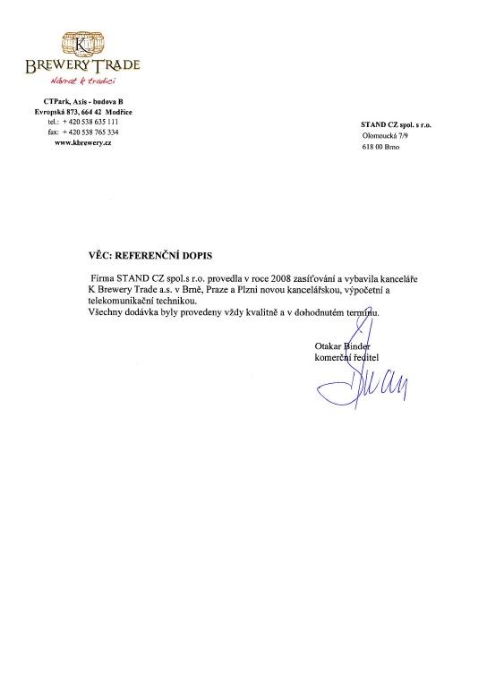 Pivovary Lobkowicz - referenční dopis