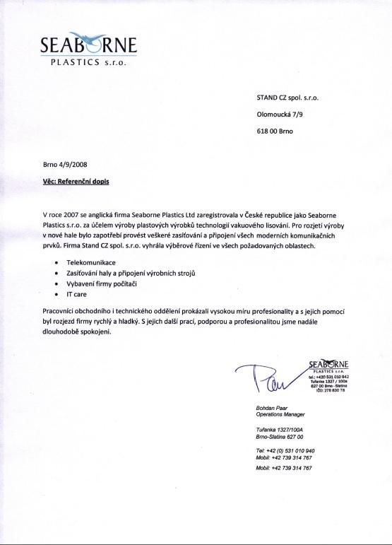 Seaborne Plastics - referenční dopis