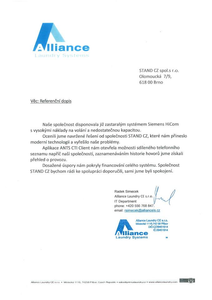 Alliance Laundry CE - referenční dopis