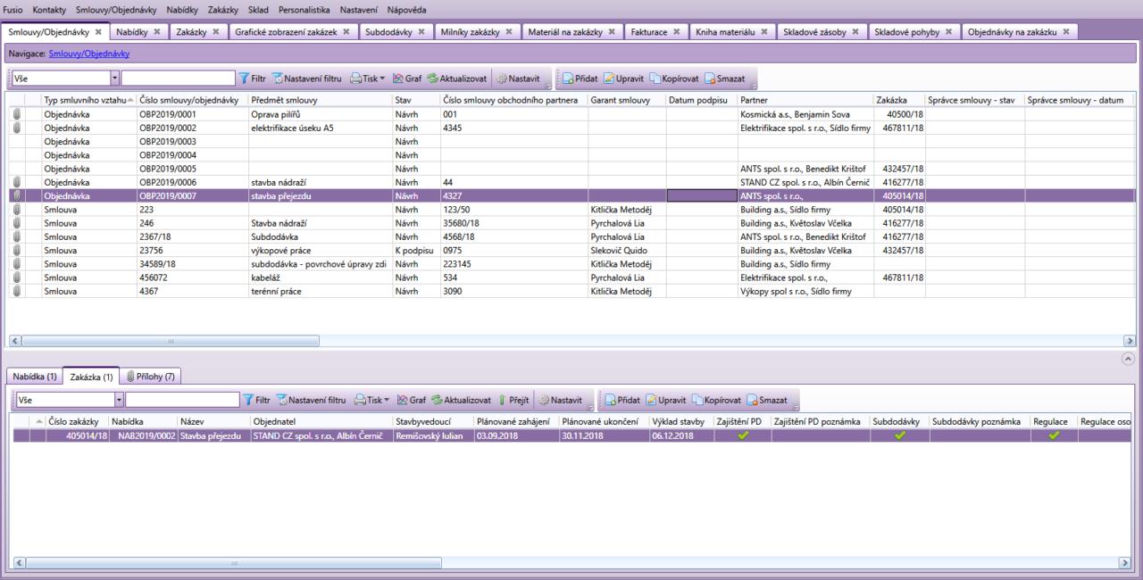 Ukázka agendy Smlouvy/Objednávky