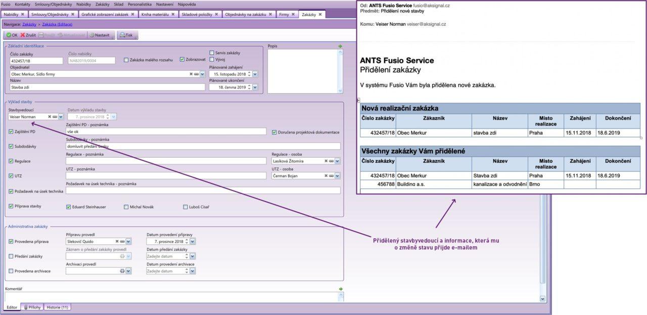 Ukázka formuláře pro zadání nové zakázky a e-mailové notifikace